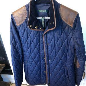 Ralph Lauren quilted leather trim coat